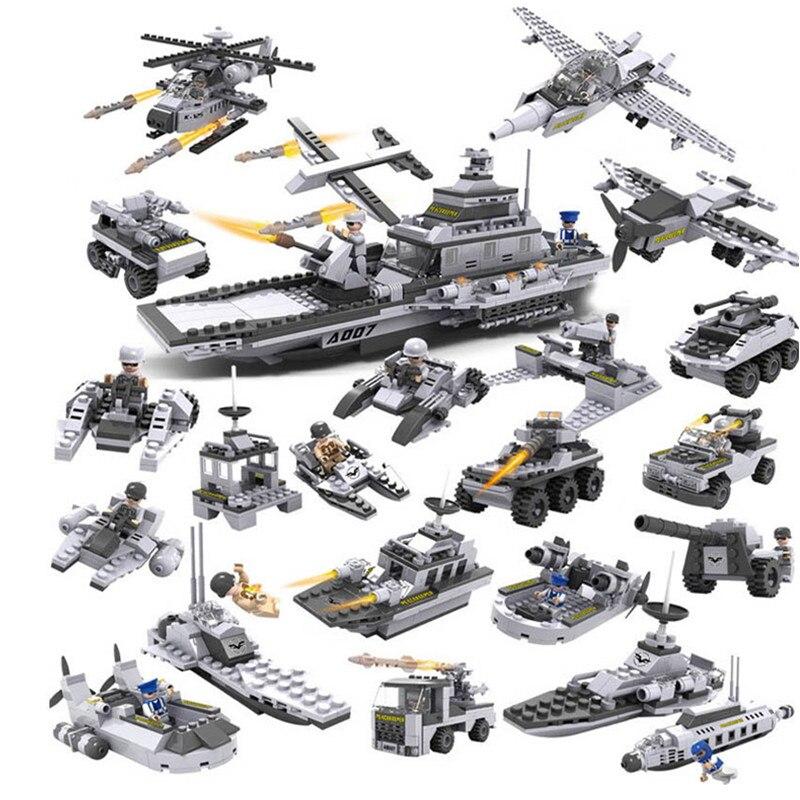 Thème militaire sous-marin hélicoptère blindé wagons-citernes blocs de développement Compatible Legoings jouets pour enfants cadeaux d'anniversaire