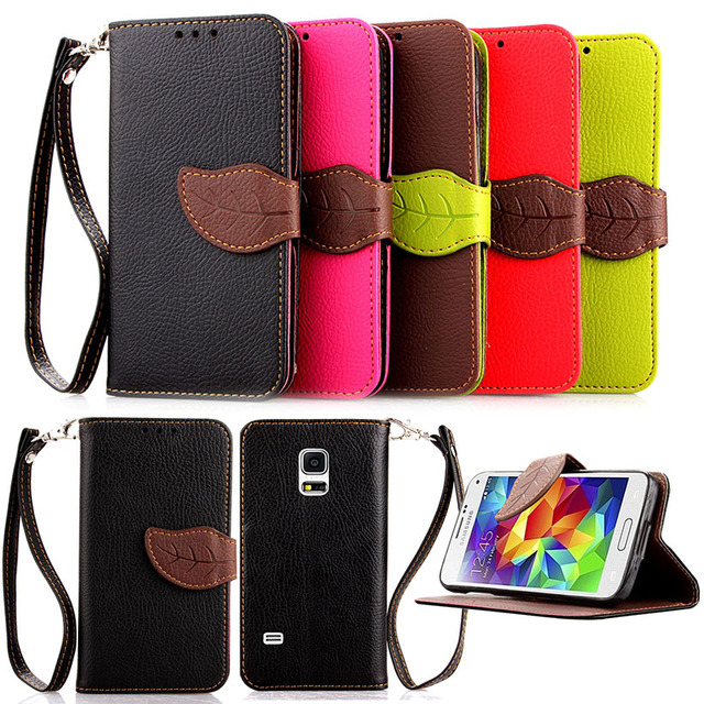 Leaf buckle Lichee Flip leather Case For Samsung Galaxy S5 G900F G900I G900M G900A G900T G900W8 G900K/G900L/G900S SV I9600 Case