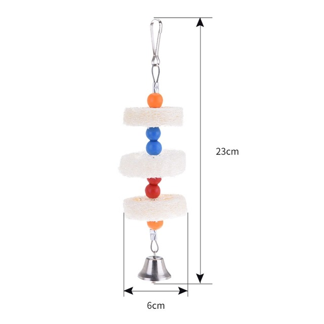 Loofah Sepak Takraw Parrot Pet Bird Station Rack Bites Chew on Hanging Toys With Bells Swing Toys Birds Stand Hanger