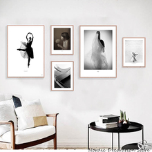 Abstract Black And White Poster Print Canvas Wall Picture Minimalist Art Decor Room Ballet Dancer Paintings Unframed