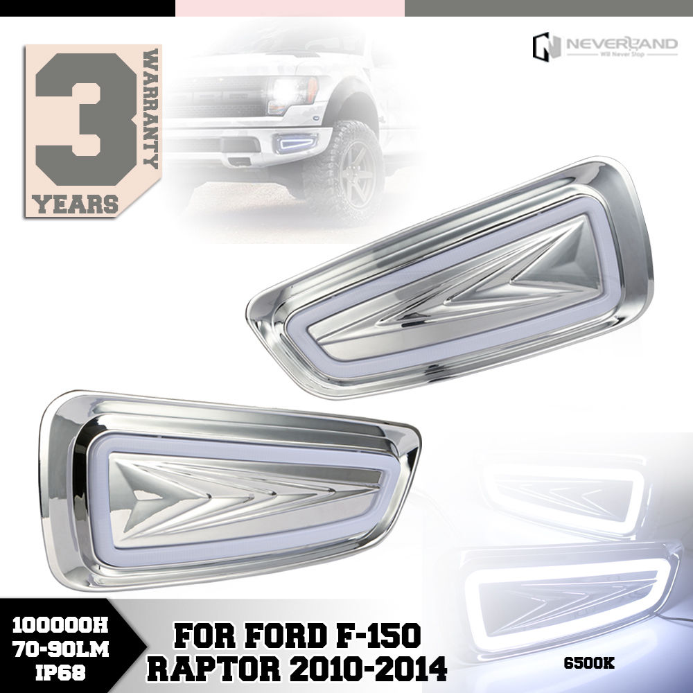 High Quality Auto Car LED White Yellow Daytime Running Lights DRL Fog Lamp For Ford F-150 Raptor 2010-2013 2014 Free Shipping