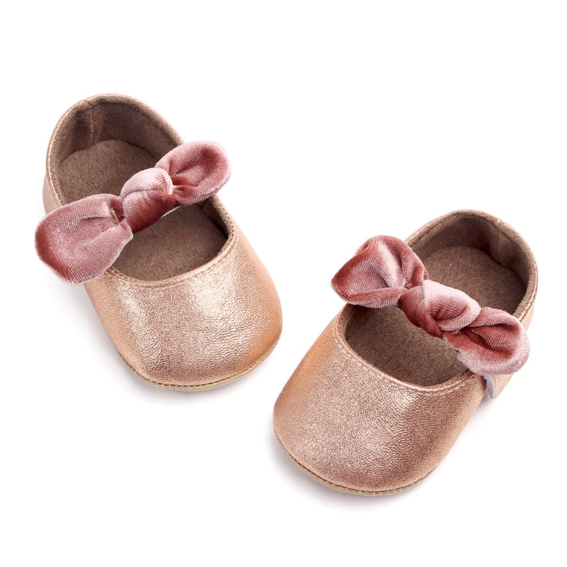 PU Baby Mary Jane Flats Shoes Infant Girl First Walkers Velvet Bowknot Soft Rubber Sole Newborn Bebe Prewalkers Shine Crib Shoes | Happy Baby Mama