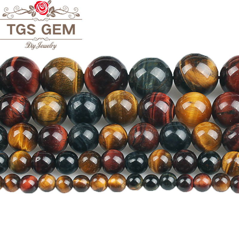 Natural Multicolor Tiger Eye Stone Round Loose Beads 4 <font><b>6</b></font> 8 <font><b>10</b></font> <font><b>12</b></font> 14 16mm DIY Charms Fashion Bracelet Necklace For Jewelry Making image