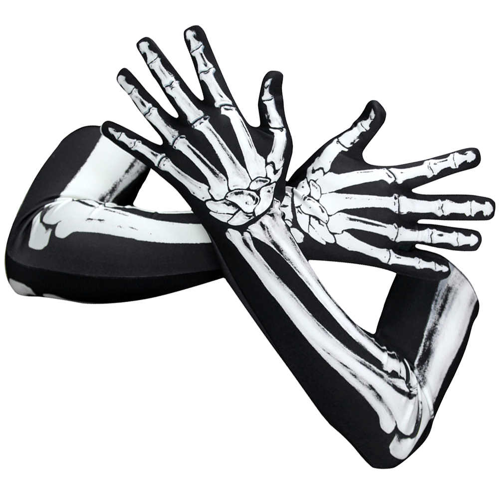 1 çift cadılar bayramı korkunç eldiven yaratıcı benzersiz kemik eldiven uzun eldiven iskelet eldiven cadılar bayramı Cosplay okul oyun