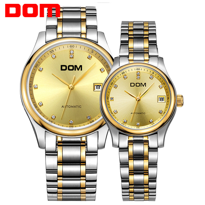 DOM  mechanical Couples  watch top brand luxury  waterproof  stainless steel Couples  watches crystal hombre M-95+G-95