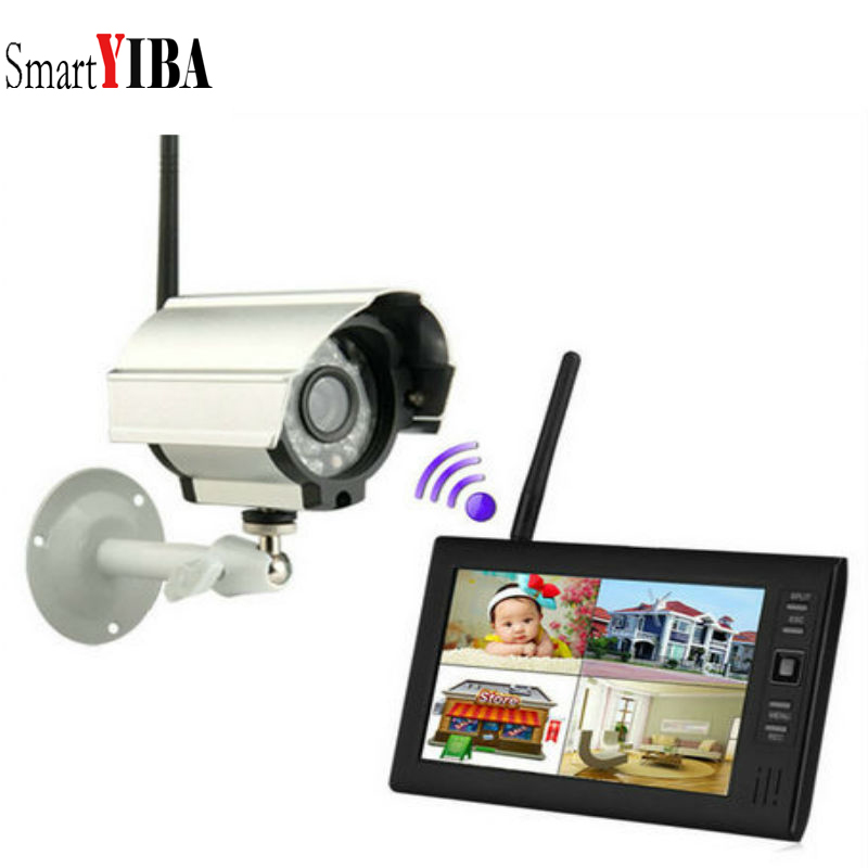 SmartYIBA 720P 4CH CCTV Camera System with 7 Inch TFT LCD Baby Monitor 2.4Ghz TF Card Home Video Surveillance Kit DVR Camera SetSmartYIBA 720P 4CH CCTV Camera System with 7 Inch TFT LCD Baby Monitor 2.4Ghz TF Card Home Video Surveillance Kit DVR Camera Set