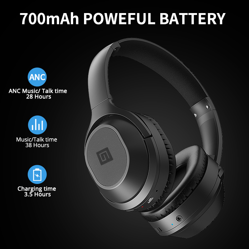 Langsdom BT25 Bluetooth Headphones Active Noise Cancelling Wireless Headphone  Stereo  Bluetooth Headset With Mic  For Phone