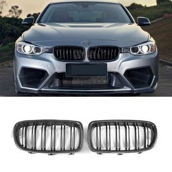 ABS Plástico Preto Grade Dianteira de Carbono Dupla Slat Grelha Para BMW Série 3 F30 F31 318i 320i 328i 2012 2013 2014 2015 2016 2017 2018
