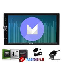 Android 6.0 Car gps Stereo with Reversing Camera two 2Din Navigation GPS Vehicle Radio Receiver Support Mirrorlink WiFi 1080P