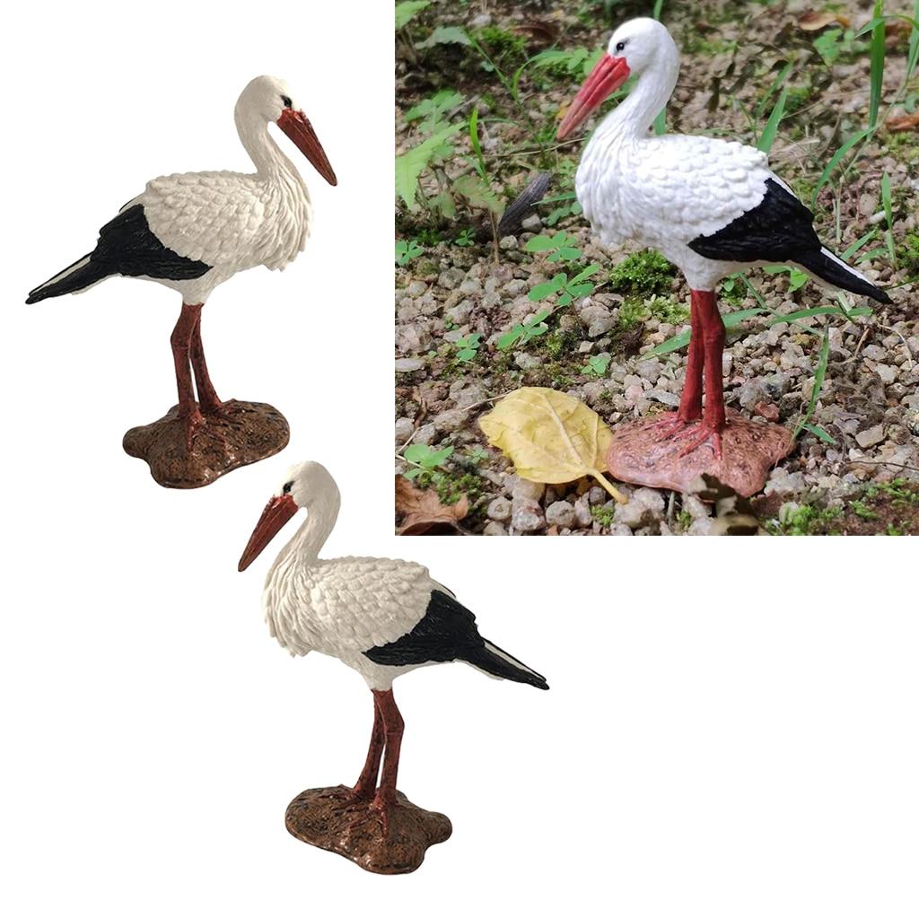 2 Pieces Height 8.5cm Lawn Garden Ornaments,Villa Garden Decoration Gift Decor White Crane, Party Outside Supplies