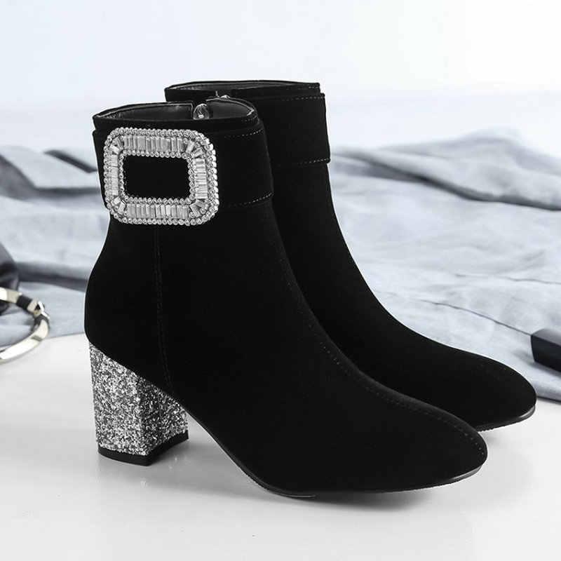 Sianie Tianie 2019 kış moda kadife kadife kadın yarım çizmeler glitter bling blok yüksek topuklu kadın boot ayakkabı ile kristaller