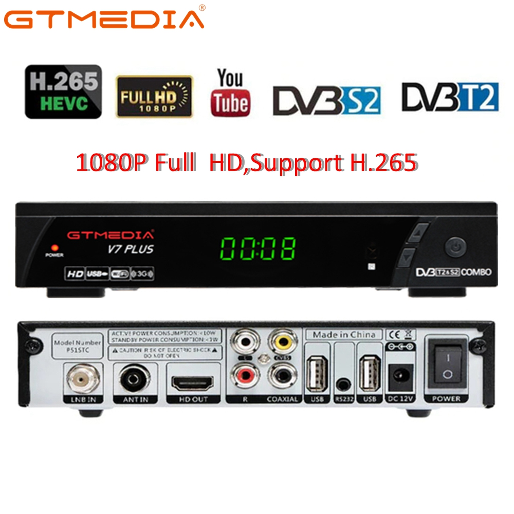 DVB-T2 Tuner Receiver GTmedia V7 Plus HDMI HD 1080P Satellite Decoder TV Box TV Tuner DVB T2 USB2.0 Built-in Russian Language