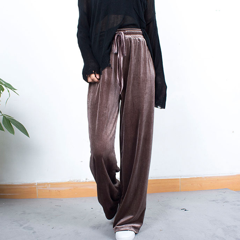 High Waist Pleuche   Wide     Leg     Pants   Women Hot Sale Solid Colors Elastic Waist Lace Up Loose Trousers Femme Casual Sweatpants S-2XL