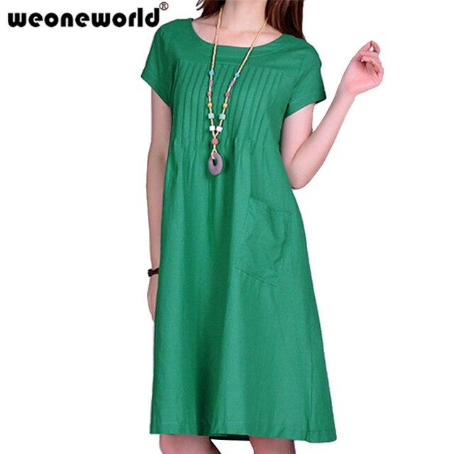 541ad126379 WEONEWORLD Chaude O-cou Coton Lin Robes Simples Grossesse décontracté Lâche  Été Vêtements de Grossesse