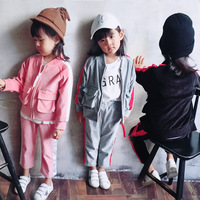 Brand Children Sports Suit Toddler Tracksuit 2 4 5 7 8 Year Kids Zipper Pocket Jacket