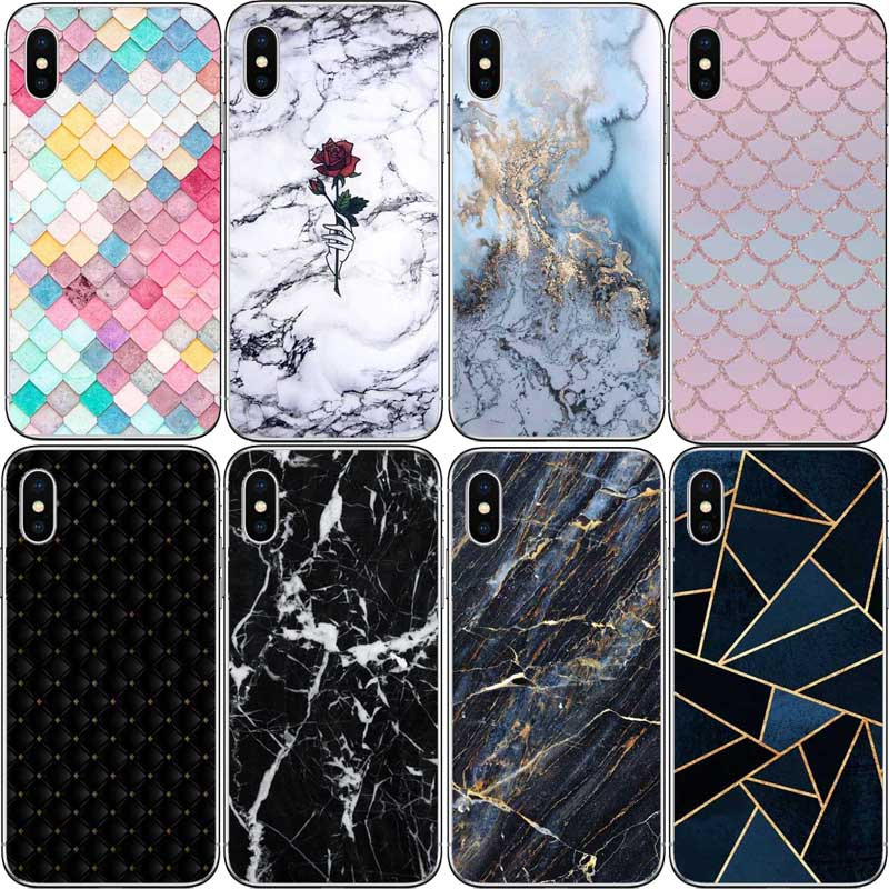 Colorful Grid Case For iPhone X 8Plus 6 6S 5S 5 SE hard plastic Case Mermaid  Girly Cover Cases For iPhone 7 XR XS MAX 6Plus