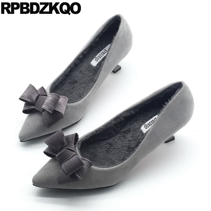Pointed Toe Size 4 34 Cheap Women Medium Suede Fur Ladies Mid Heels Shoes Fashion Gray New Bow 2017 Kitten Pumps Elegant Spring tommy hilfiger new gray charcoal women s size medium m crewneck sweater $79