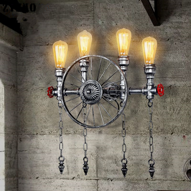 Loft Industrial Retro Wheel Wall Lamps Restaurant Cafe Bar Dining Room Wall Sconce Creative American Vintage Iron Art Wall Light