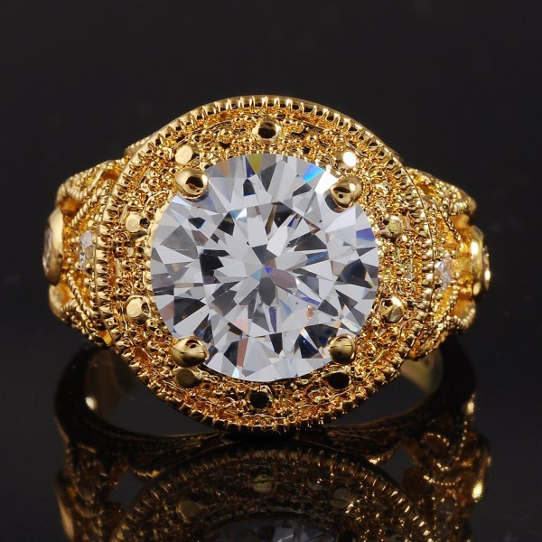 Jenny G Jewelry Vintage Big Round-cut White Sapphire Stone 18K Yellow Gold Filled Ring for Men Nice Gift