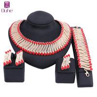 New High Fashion Dubai Crystal Jewelry Set Gold Color Nigerian Wedding African Beads Jewelry Sets Parure