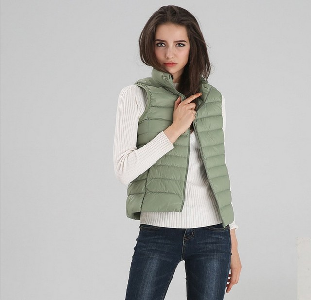 2016 Eur style Latest Winter Fashion Women Down jacket Stand collar Warm High quality Vest Pure color Slim Big yards Coat SJ1184