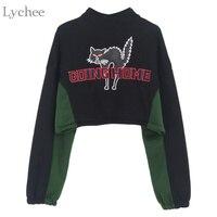 Lychee Spring Autumn Women Crop Top Going Home Cat Letter Embroidery Long Sleeve Fleece Jacket Coat
