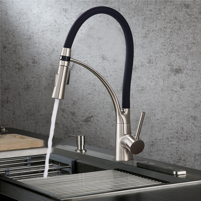 Black LED Kitchen Sink Faucet Swivel Pull Down Kitchen Faucet Sink Tap Mounted Deck Bathroom Mounted Hot and Cold Water Mixer yanjun us kitchen faucet brushed pull down single handle basin sink deck mounted swivel mixer cold and hot water tap yj 6654