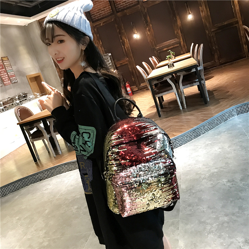 Miyahouse Fashion Colorful Sequins Design Backpack For Teenage Girls Pu Leather Small Backpack Female Shoulder Bag #2