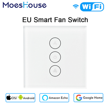 EU WiFi スマート天井ファンスイッチ APP リモートタイマーと速度制御と互換性 Alexa と Google ホームなしハブ必要