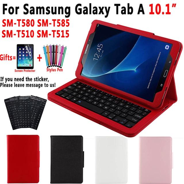 Bluetooth Keyboard Case for Samsung Galaxy Tab A A6 10.1 2016 2019 T580 T585 T580N T585N T510 T515 Keyboard Cover Funda + Gift