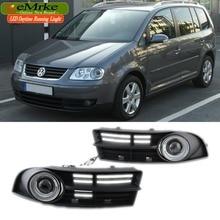 EeMrke для Volkswagen Touran 2003-2006 светодиодный Ангел глаз DRL дневные ходовые огни галогенные лампы H11 55 Вт Противотуманные фары комплекты