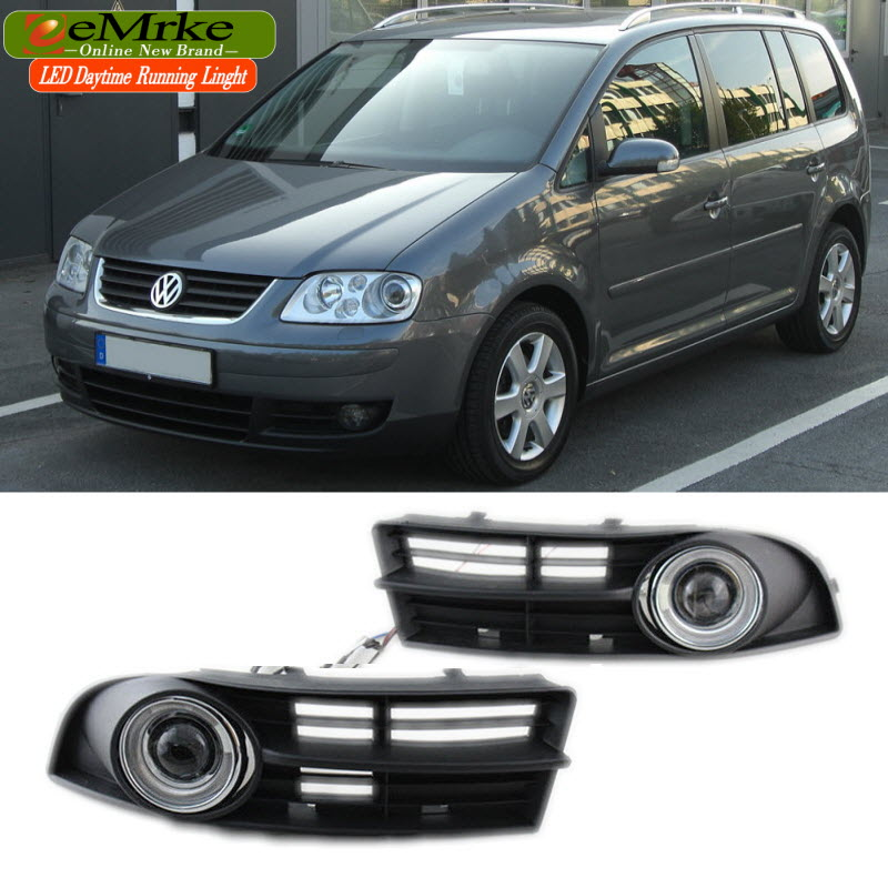 eeMrke For Volkswagen Touran 2003-2006 LED Angel Eye DRL Daytime Running Lights Halogen Bulbs H11 55W Fog Lamp Kits eemrke for fiat freemont led angel eye drl daytime running lights halogen h11 55w fog lamp light