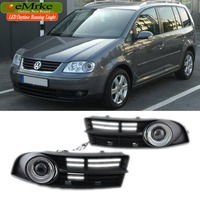 eeMrke For Volkswagen Touran 2003 2006 LED Angel Eye DRL Daytime Running Lights Halogen Bulbs H11 55W Fog Lamp Kits