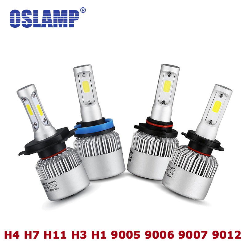 Oslamp Auto 9007 H4 LED Headlight Kit S2 Series COB 72W/pair H3 H1 H7 Car Bulbs Led H11 Fog Lamp 9012 9005 9006 All-in-one 6500k oslamp s5 series 2x 36w h1 led headlight bulbs 6500k white cob chips 2pcs h1 fog lamps all in one led car bulbs with cooling fan