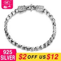 WK 925 Silver 4MM Bracelet Men Male Dragon Ball Bead Hand Chain Bracelets Man Jewelry 21CM Pulseira Masculina Wholesale FF BM008
