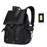 AUGUR Brand PU Leather Backpack Teenagers College Leisure Shoulder Bag USB Interface Student Bag Shockproof Laptop Backpack