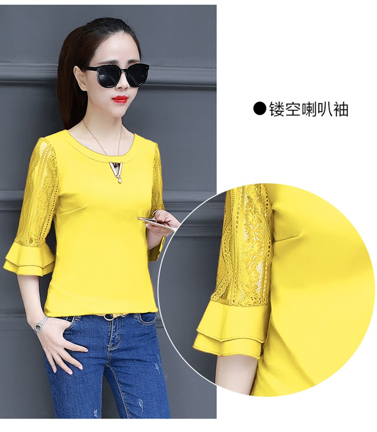 Women Blouse Summer Tops 2018 New Arrival Patchwork Blusas Mujer Lace Flare Sleeve Female Shirts Khaki Green Yellow  (7)