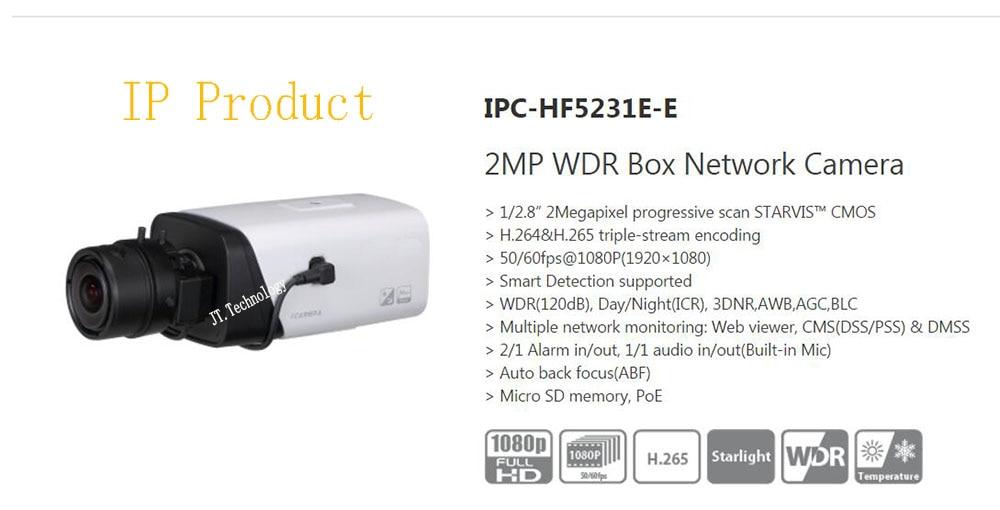 Free Shipping DAHUA Security CCTV IP Camera 2MP WDR Box Network Camera With POE without Logo IPC-HF5231E-E