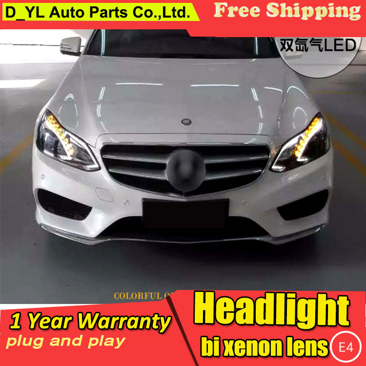 D_YL Car Styling for Benz E200 E260 E300 <font><b>Headlights</b></font> 2014-2015 <font><b>W212</b></font> LED <font><b>Headlight</b></font> DRL Lens Double Beam H7 HID Xenon bi xenon lens image
