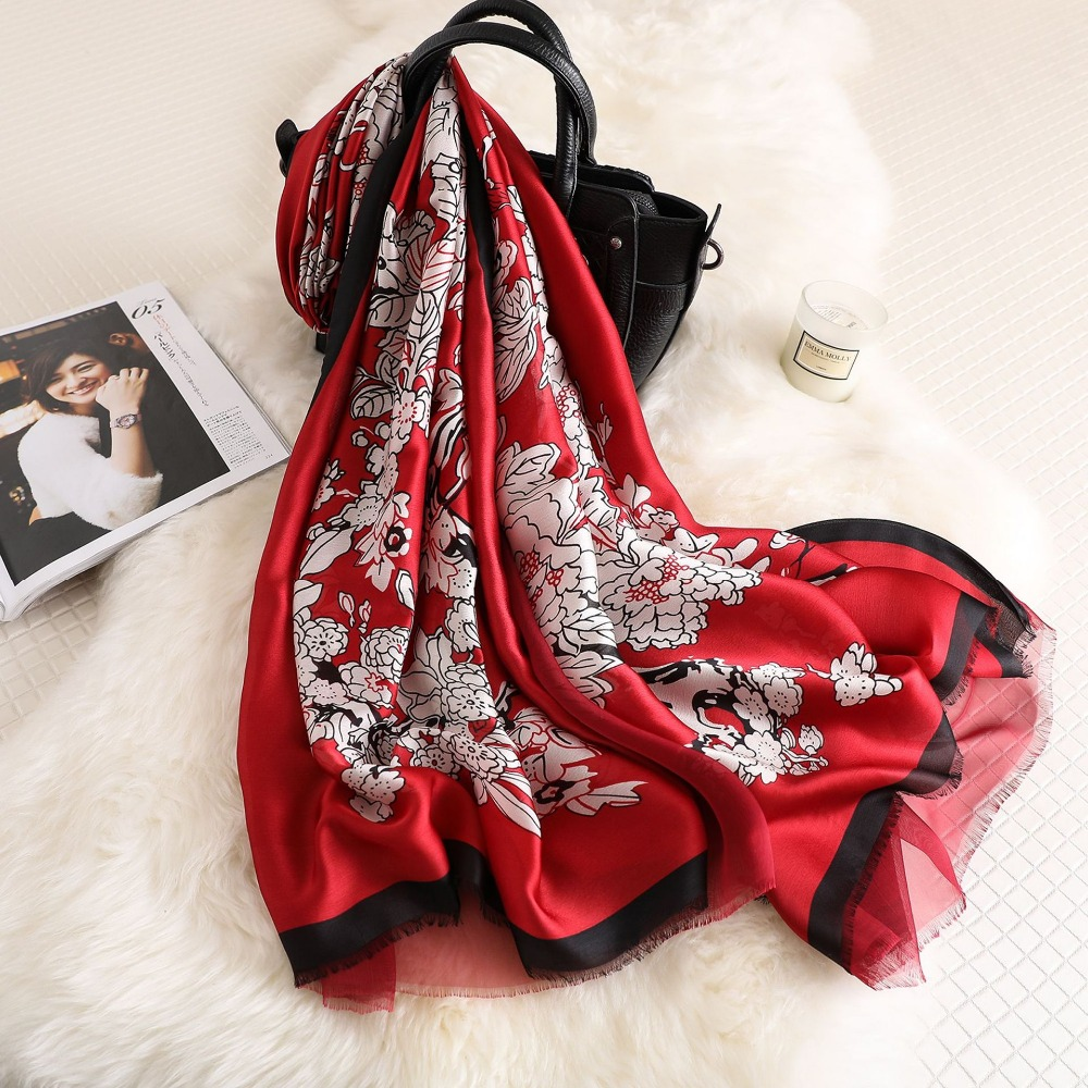 180*90CMNew Design Luxury Brand Foulard Wraps Shawls Summer Beach <font><b>Silk</b></font> <font><b>Scarf</b></font> <font><b>180*90cm</b></font> Double sided sun shawl image