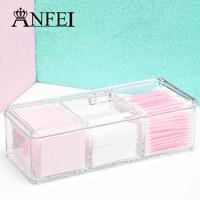 3 Grades Caixa de Maquiagem de Acrílico transparente Com Tampa Jóias Caso caixa de Jóias Caixa de Exibição De Armazenamento Organizador Para Cosméticos Cotonete