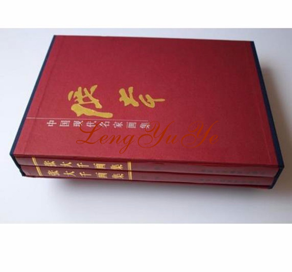 Chinese Painting Brush Ink Art Sumi-e Album Zhang Daqian Landscape Flower Book 2pcs chinese painting brush ink art sumi e album qi baoshi shrimp flower xieyi book