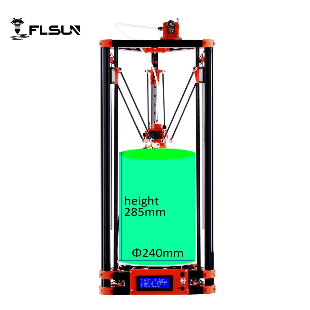 2016 LCD Diy FLSUN 3d Metal Printer, Large Printing Size 3d-Printer Delta Kossel 3d Printer Kit One Roll Filament SD Card