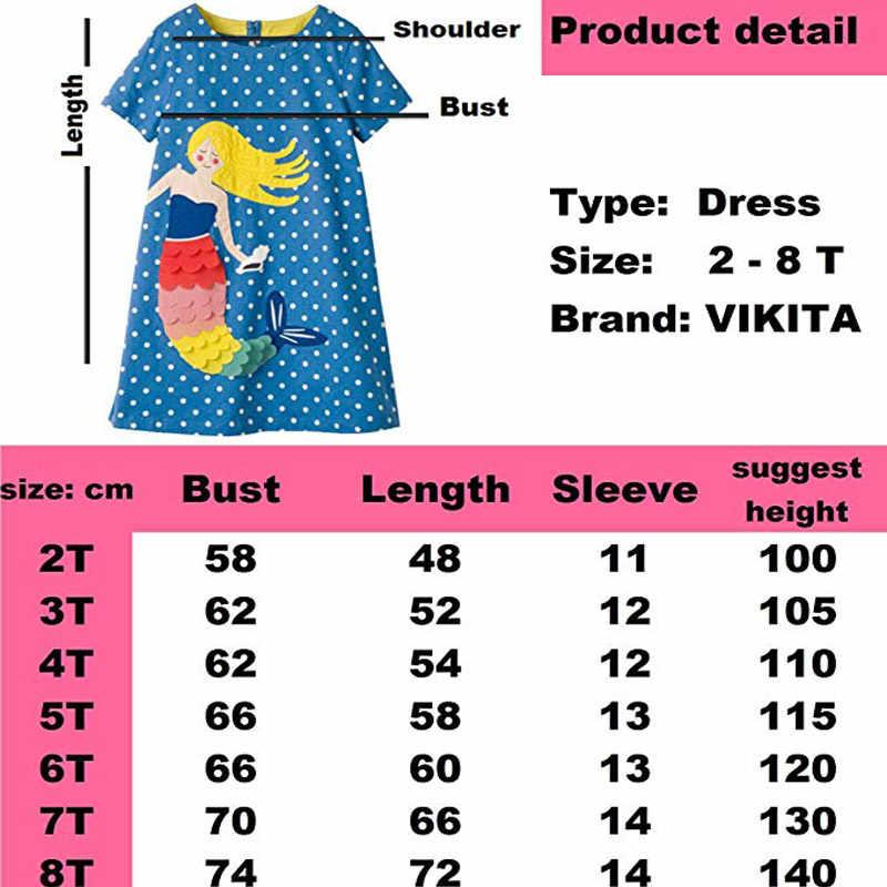 VIKITA תינוק בנות שמלת קיץ פרחוני שמלת נסיכת תלבושות Unicorn המפלגה Vestidos ילדים שמלות בנות ילדי בגדים