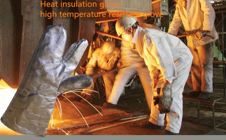 1 pora 39 cm ilgio, trijų pirštų aliuminio folijos, atsparios aukštai temperatūrai pirštinės / šiluminio suvirinimo pirštinė / kaitrios plokštelės nuo garų apsaugotos pirštinės