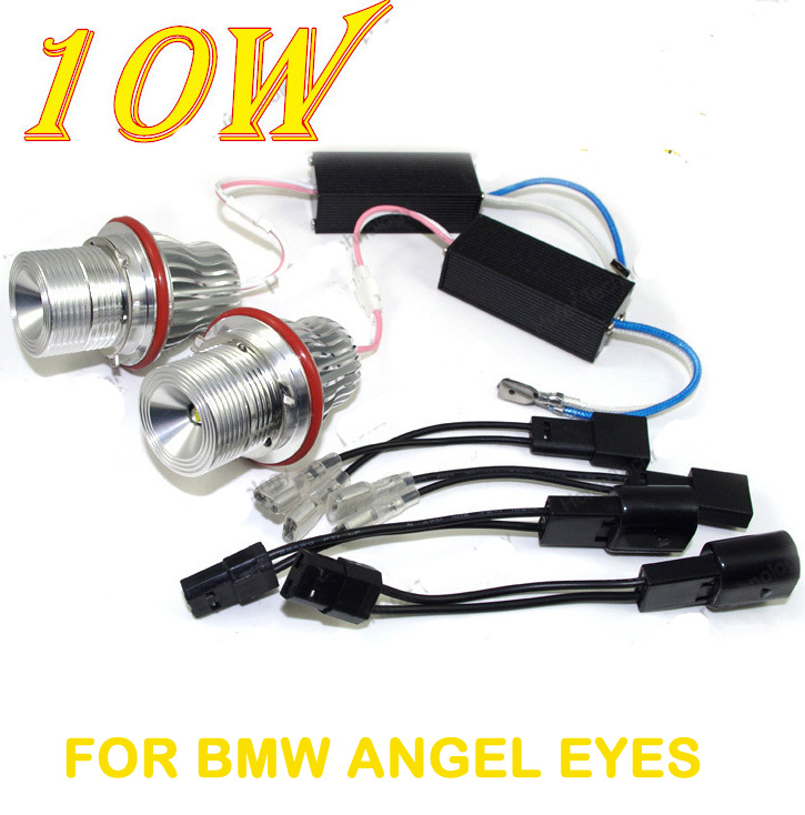 ФОТО FREE SHIPPING 2X 10W Angel Eyes LED MARKER FOR BMW  E39 E64 E60 E66 E83 E87 silver