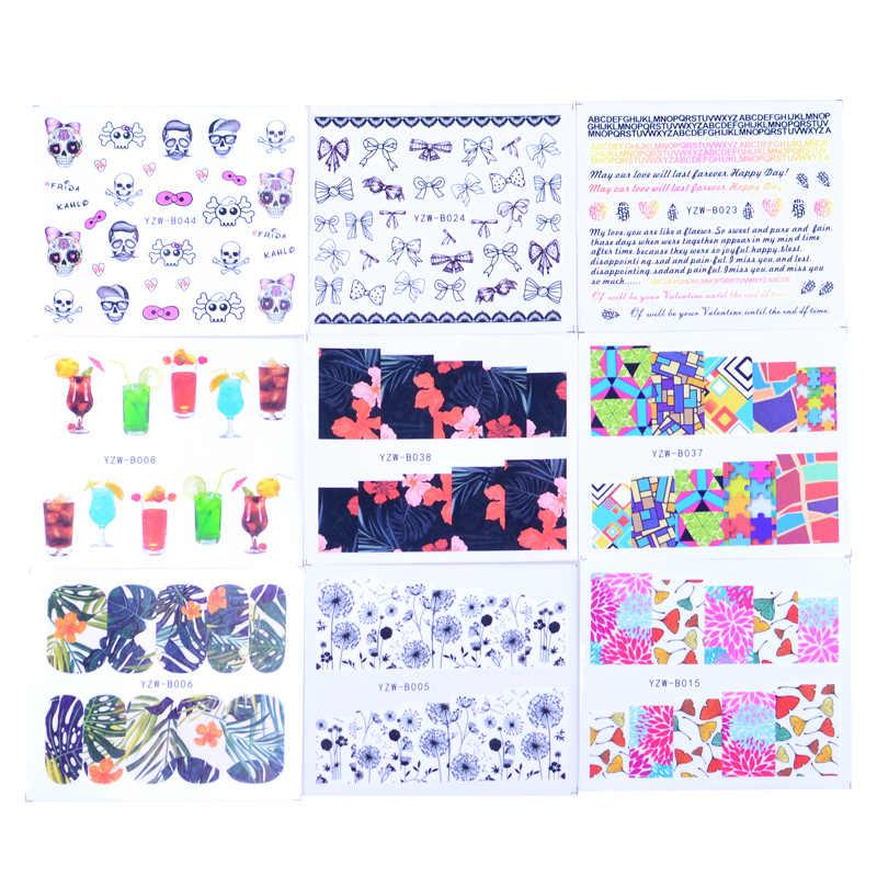 49 sztuk mieszane 2020 nowe wzory Nail naklejka artystyczna zestawy woda naklejki kwiat kwiat dmuchawiec itp suwak paznokcie miłość zestaw do manicure