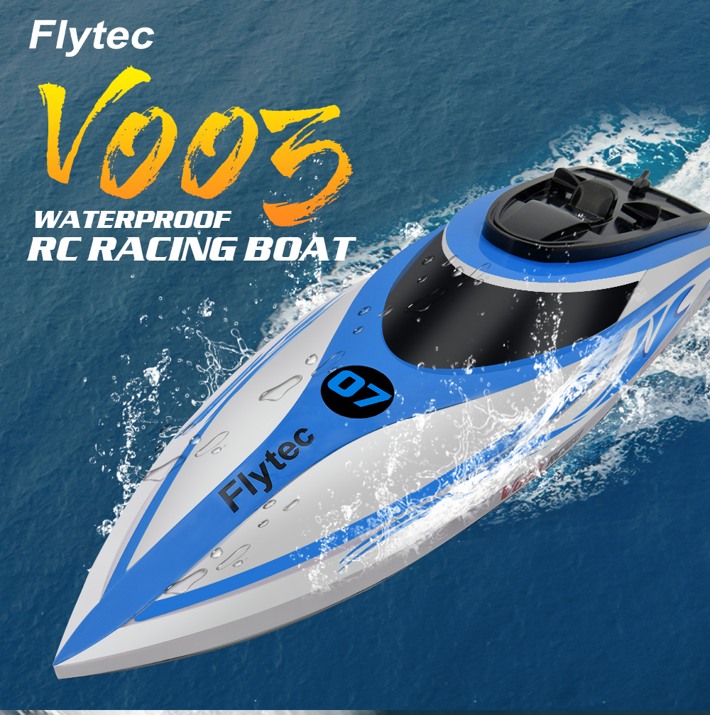 Flytec V003 RC High Speed Boat 2.4G with Self-righting Waterproof Built-in Water Cooling System 30+Km/h RC Racing Boat RC ToysFlytec V003 RC High Speed Boat 2.4G with Self-righting Waterproof Built-in Water Cooling System 30+Km/h RC Racing Boat RC Toys