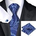 Мужская Tie Синий Пейсли Жаккардовые Шелковые Галстуки Ханки Запонки Набор Бизнес Свадьба Галстуки Для Мужчин С-635