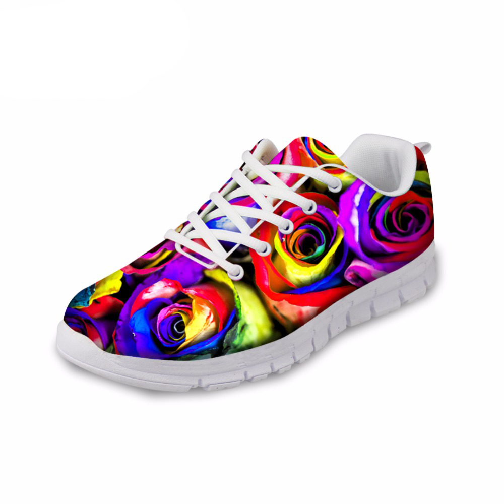 NOISYDESIGNS Fashion Colorful Floral Printed Womens flat Autumn Light Lace Up Shoe Casual Ladies Low Top Shoes Zapatillas Mujer